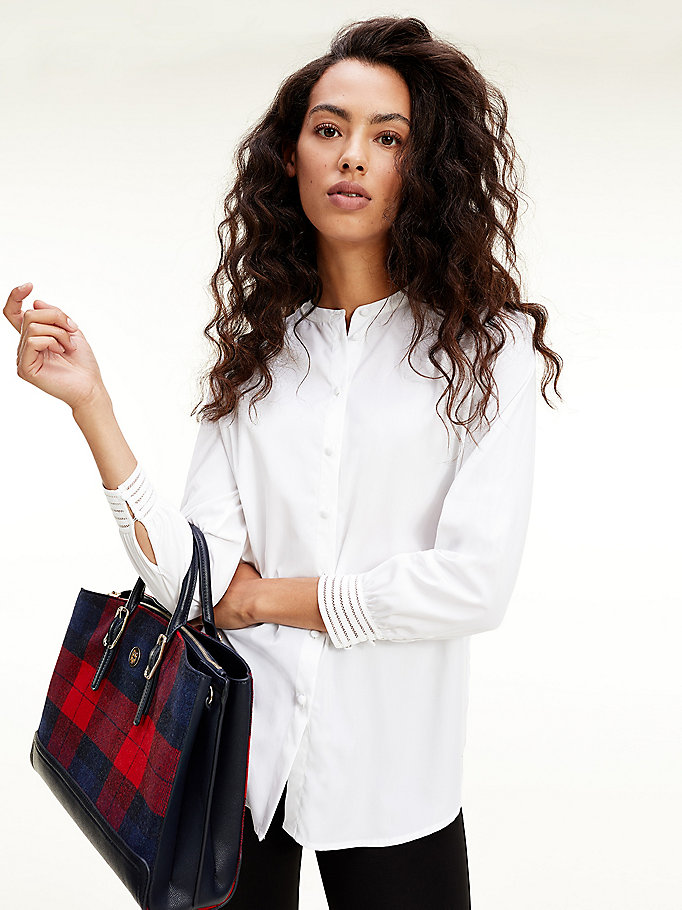 white mandarin collar relaxed fit shirt for women tommy hilfiger