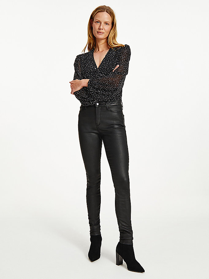 black harlem high rise skinny th soft coated jeans for women tommy hilfiger