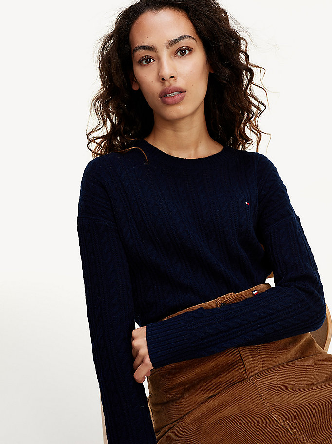 blue cable knit jumper for women tommy hilfiger