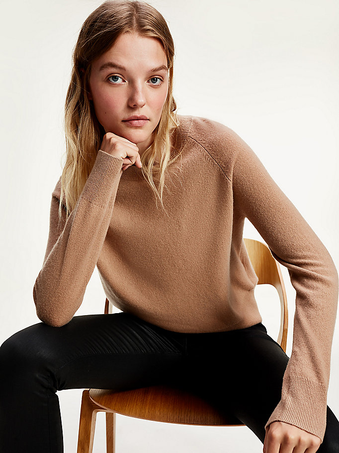brown pure recycled cashmere relaxed fit jumper for women tommy hilfiger