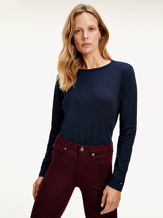 blue relaxed fit long-sleeved crew neck t-shirt for women tommy hilfiger
