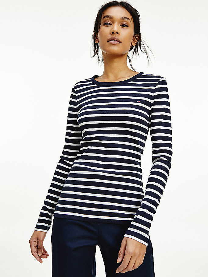 blue skinny fit long sleeve t-shirt for women tommy hilfiger
