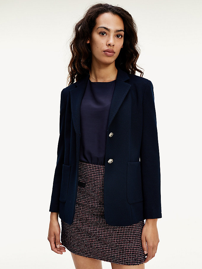 blue textured single breasted blazer for women tommy hilfiger