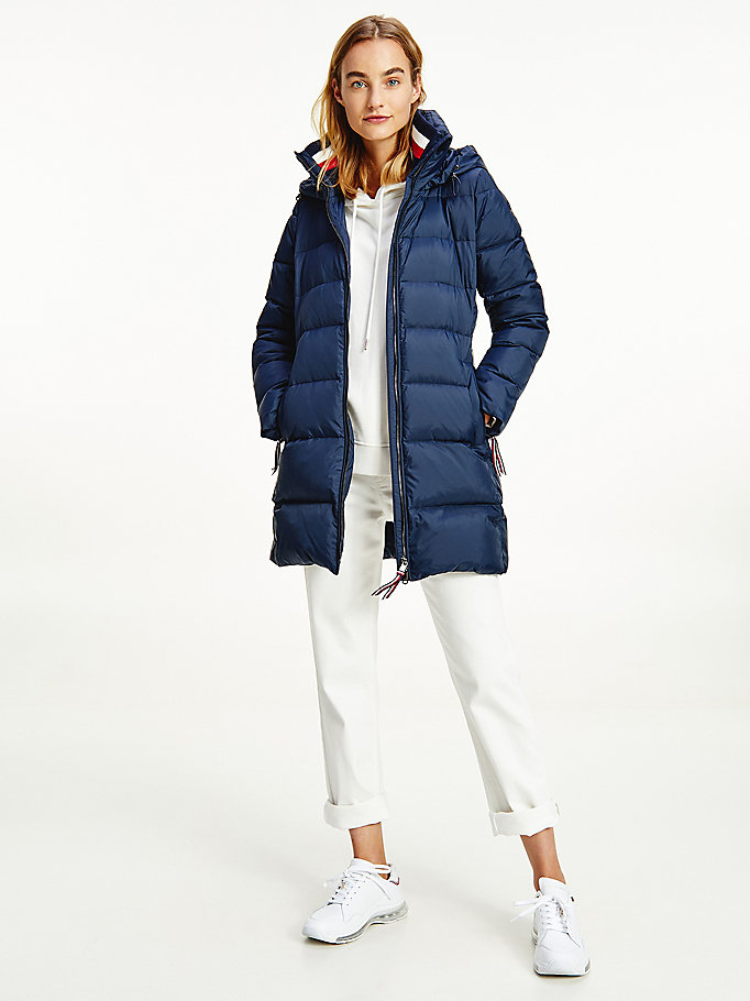 blue down-filled padded coat for women tommy hilfiger