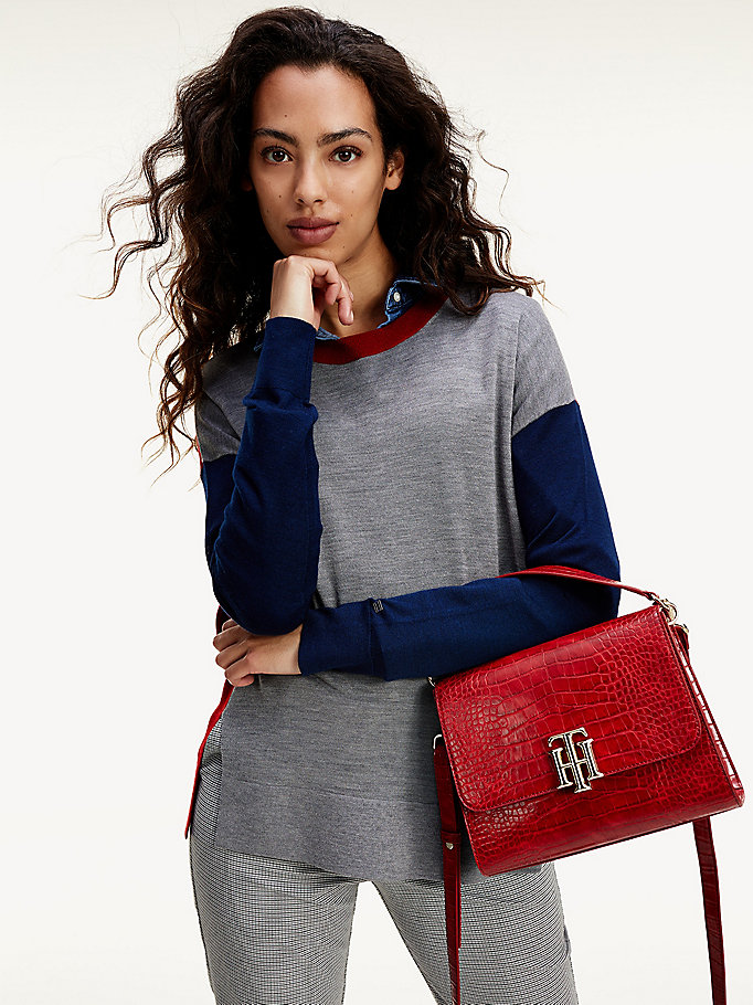 red colour-blocked wool and silk jumper for women tommy hilfiger