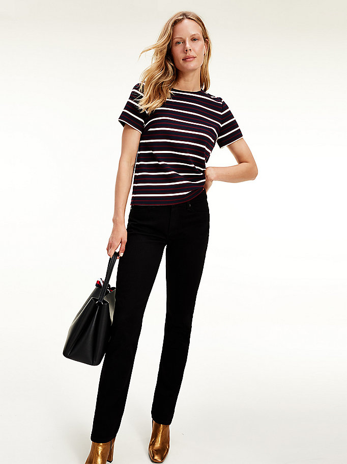 red viscose textured stripe zip t-shirt for women tommy hilfiger