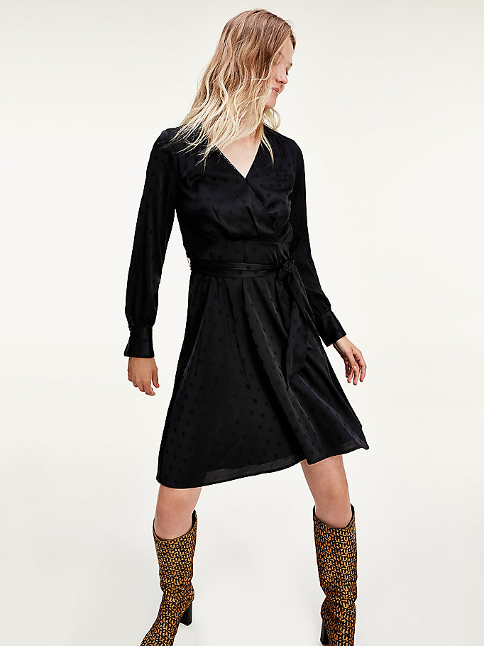 black fit and flare wrap dress for women tommy hilfiger