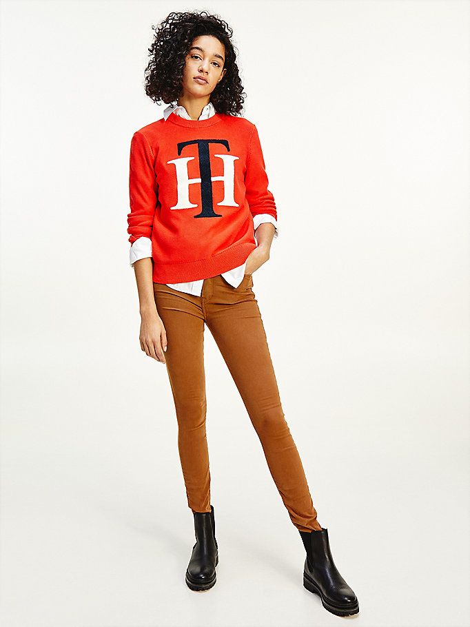 orange pure cotton monogram appliqué jumper for women tommy hilfiger