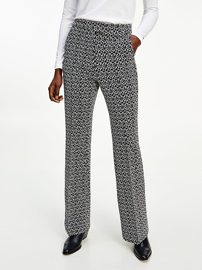 grey jacquard jersey flared monogram trousers for women tommy hilfiger