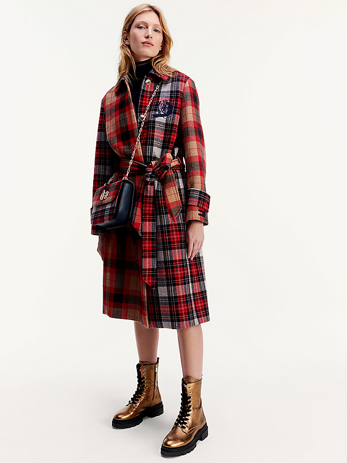 red tommy icons checked oversized wool cashmere mac for women tommy hilfiger
