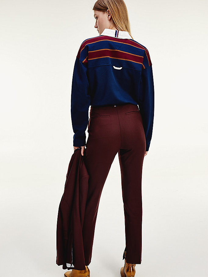 Tommy Icons Virgin Wool Trousers Red Tommy Hilfiger