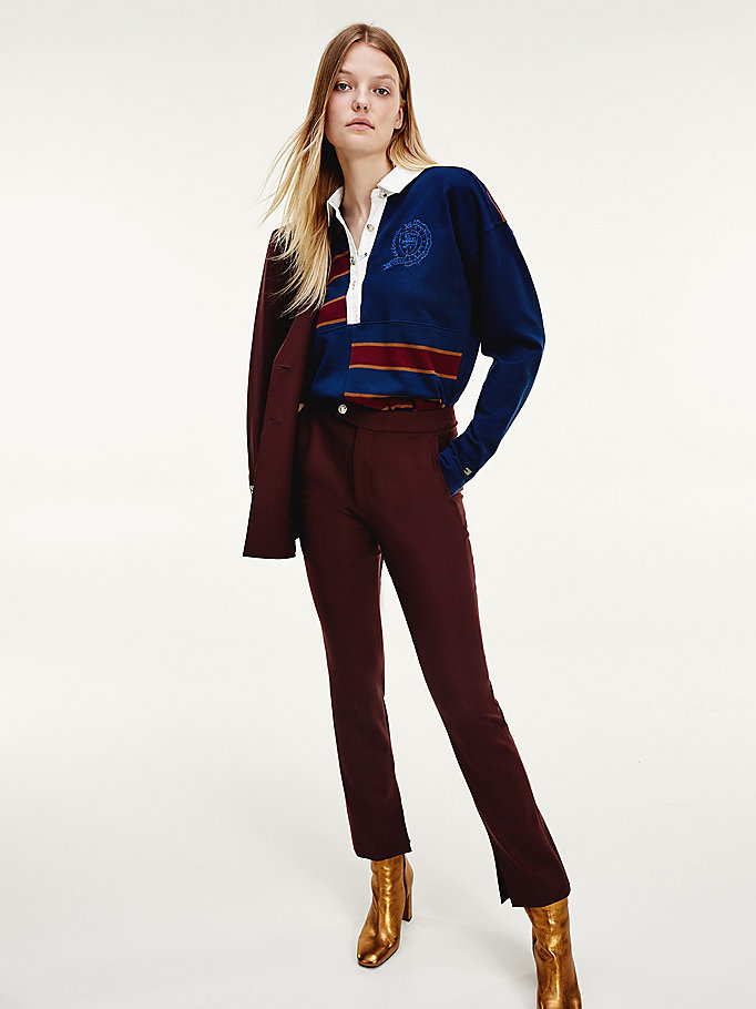 red tommy icons virgin wool trousers for women tommy hilfiger