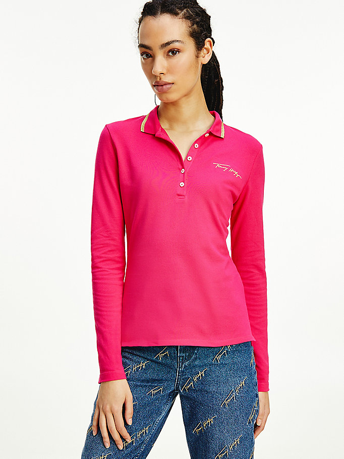 pink slim fit long sleeve polo for women tommy hilfiger