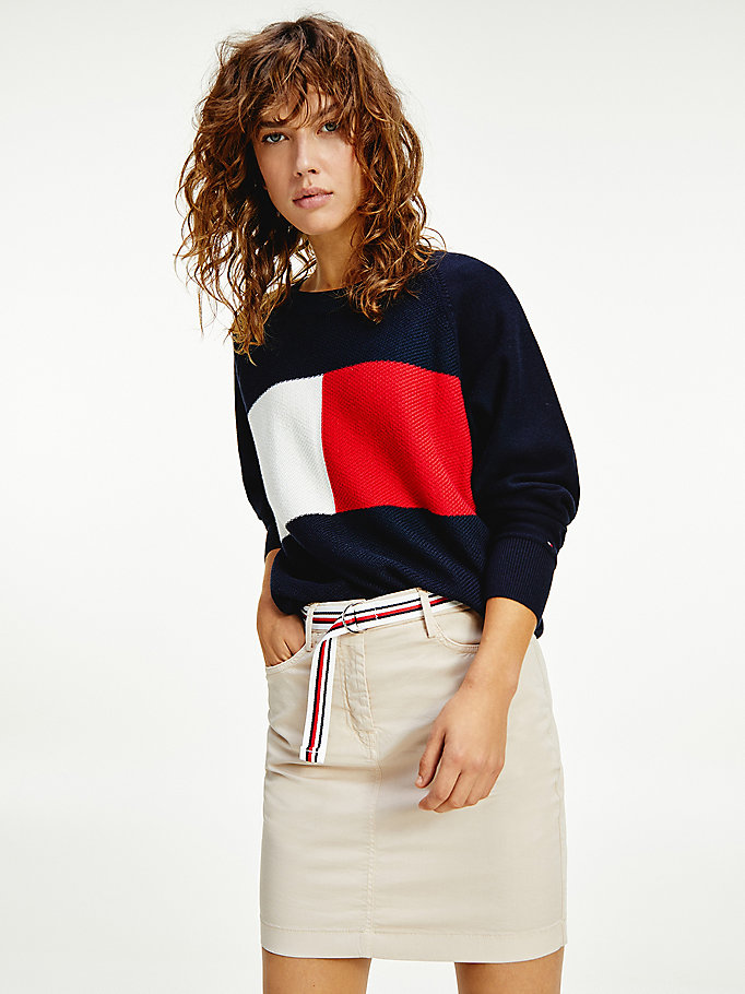 blue relaxed fit jumper for women tommy hilfiger