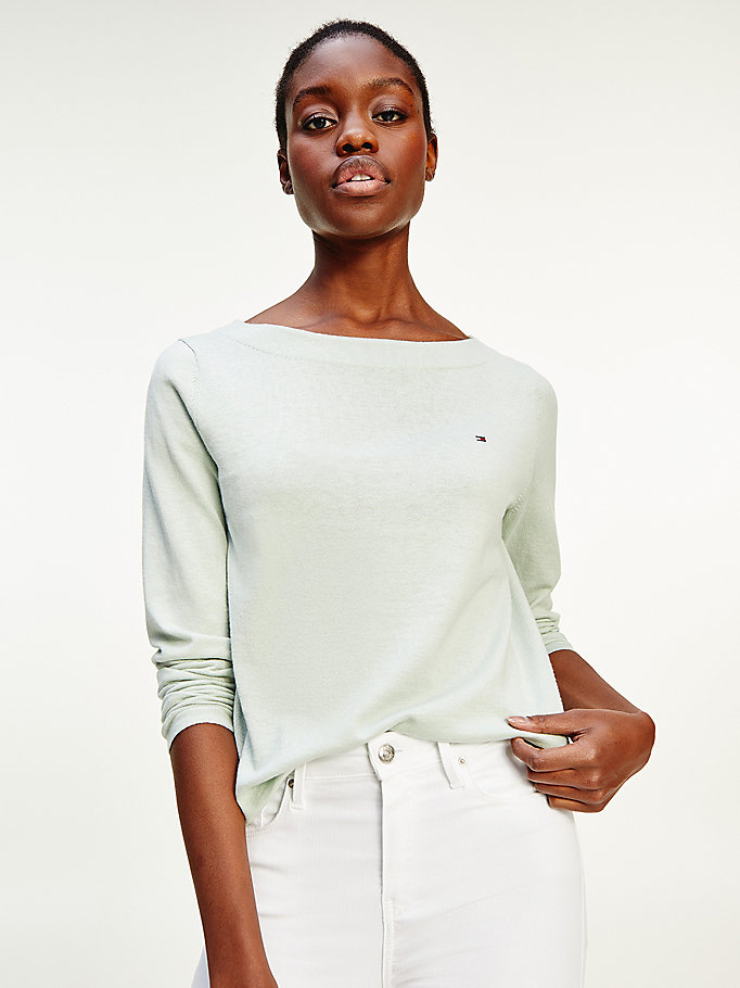 green boat neck jumper for women tommy hilfiger