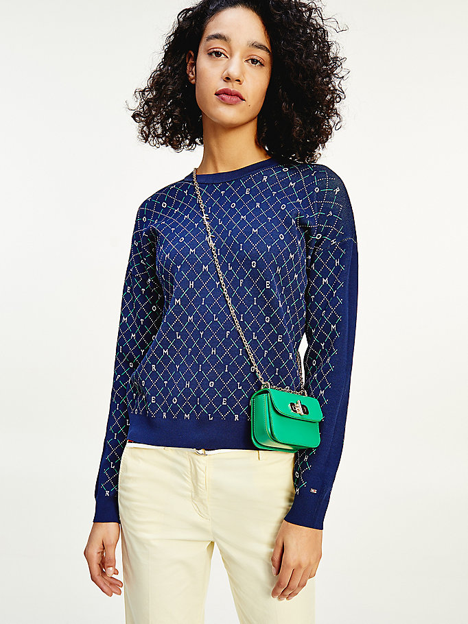 blue argyle viscose blend jumper for women tommy hilfiger