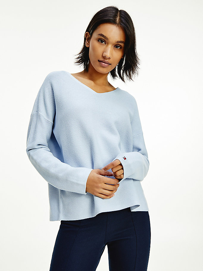 blue organic cotton relaxed v-neck jumper for women tommy hilfiger