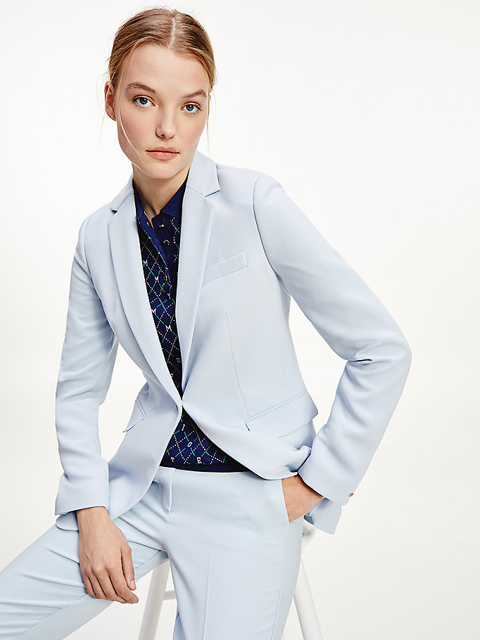 blue single breasted blazer for women tommy hilfiger