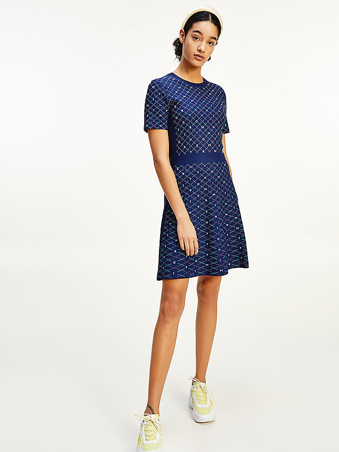 blue argyle fit and flare short dress for women tommy hilfiger
