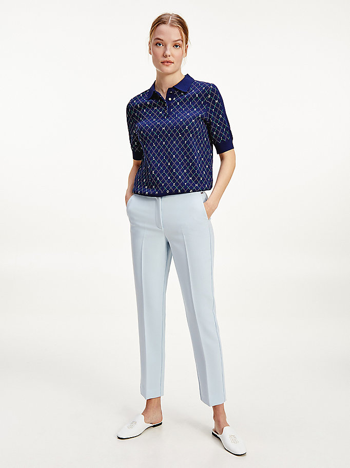 blue slim fit viscose trousers for women tommy hilfiger