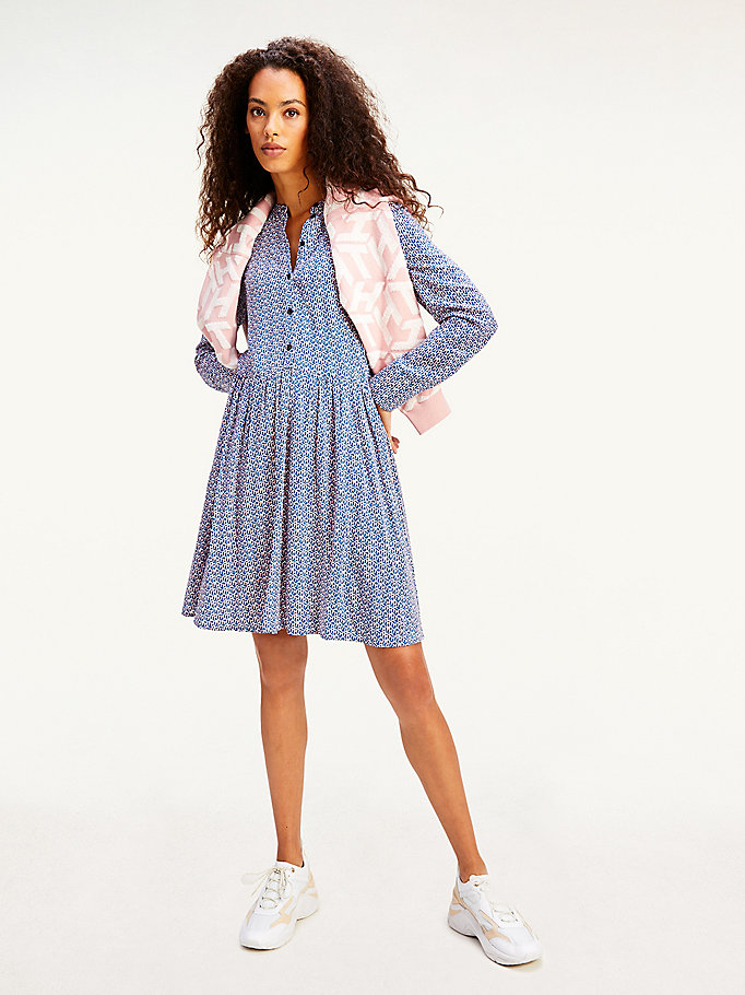 blue monogram print long sleeve shirt dress for women tommy hilfiger