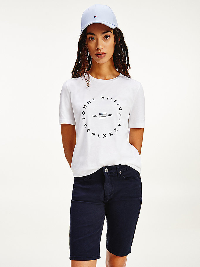 white circle logo organic cotton t-shirt for women tommy hilfiger