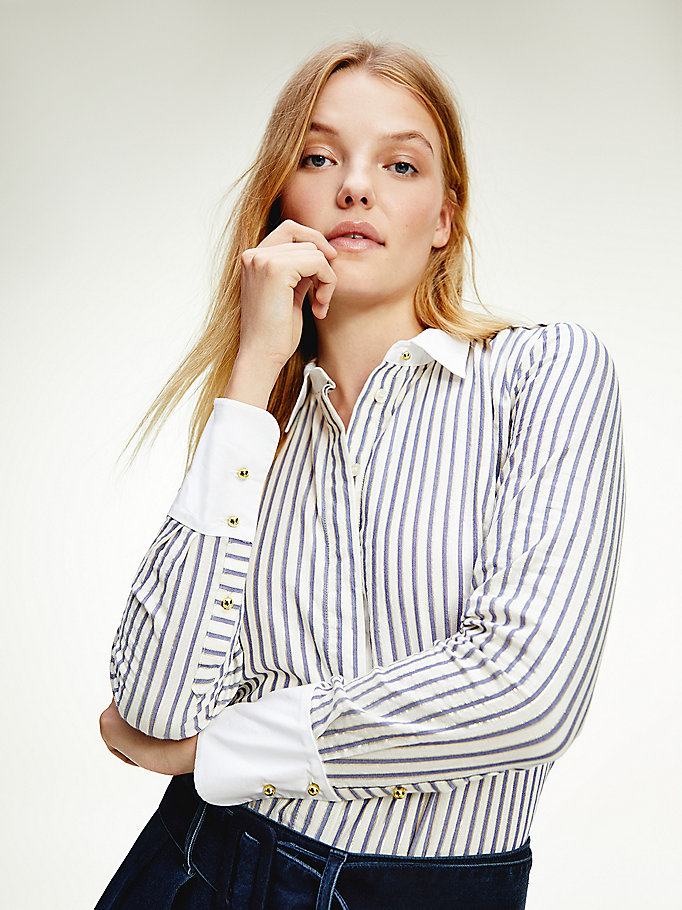 purple metallic stripe shirt for women tommy hilfiger