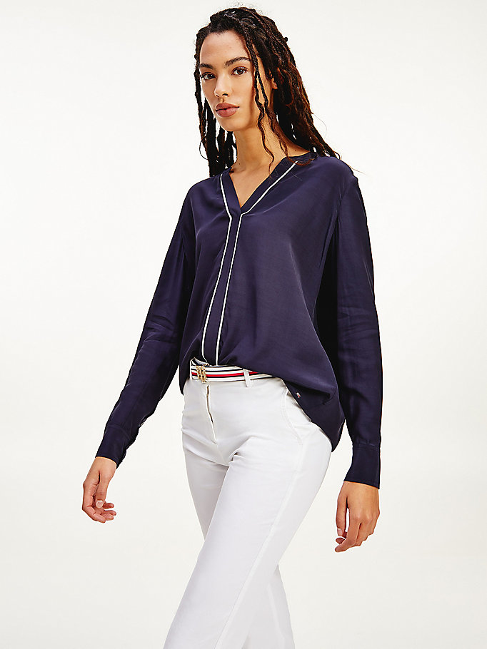 blue v-neck piping detail blouse for women tommy hilfiger