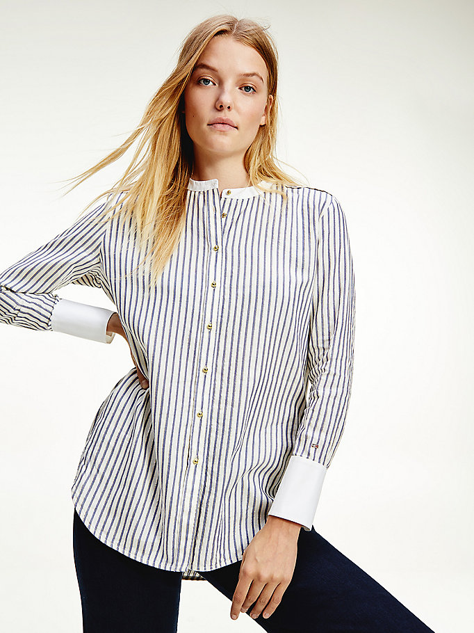 purple relaxed fit metallic stripe shirt for women tommy hilfiger