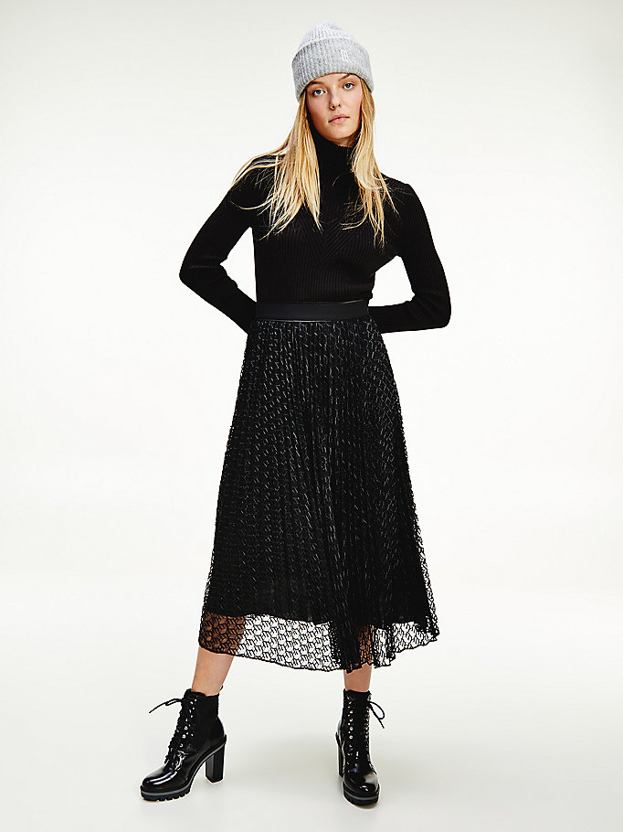 black pleated lace midi skirt for women tommy hilfiger