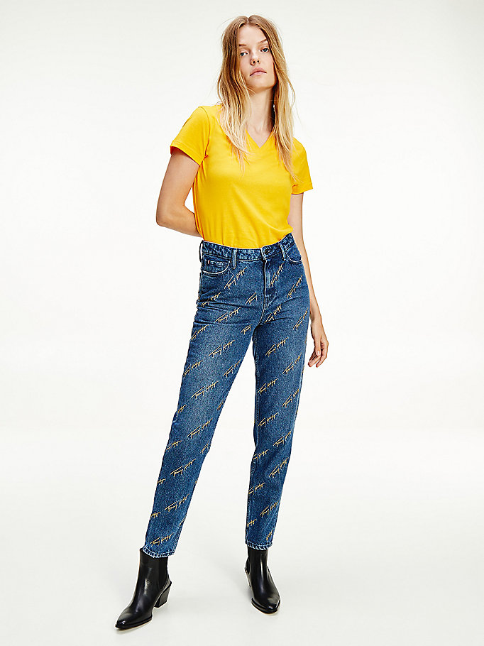 denim gramercy high rise tapered embroidered jeans for women tommy hilfiger