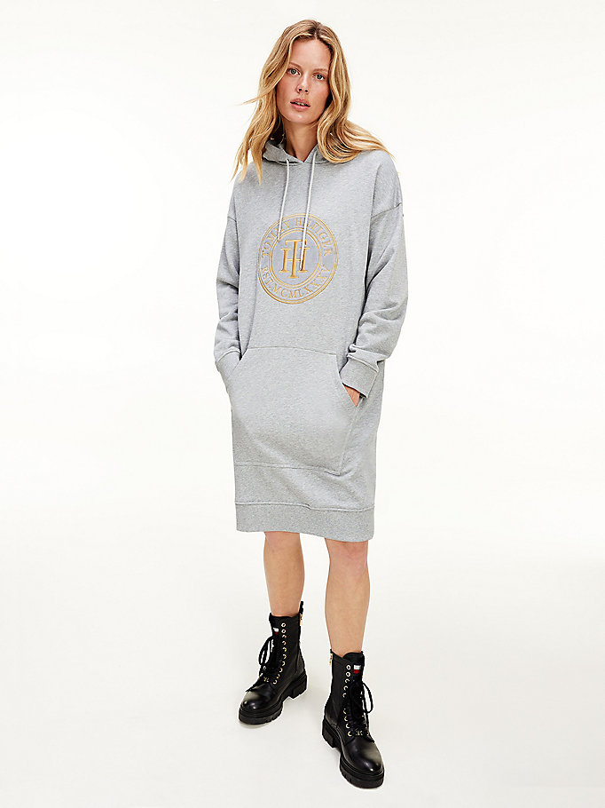 grey gold-tone embroidery logo hoody dress for women tommy hilfiger