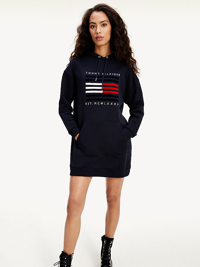 blue organic cotton hoody dress for women tommy hilfiger