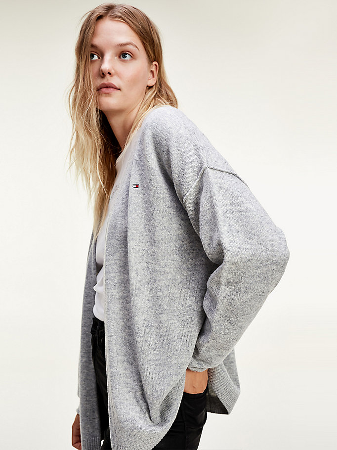 grey relaxed fit open front cardigan for women tommy hilfiger