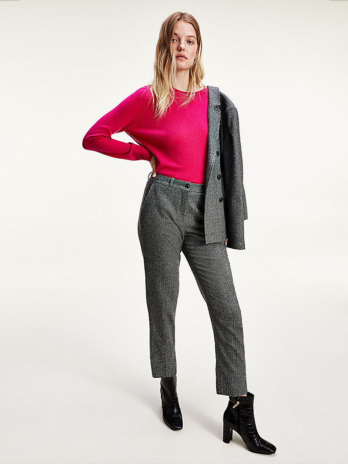 grey cashmere wool blend herringbone trousers for women tommy hilfiger