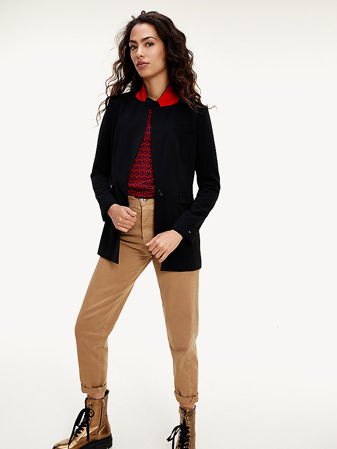 black stretch twill blazer for women tommy hilfiger