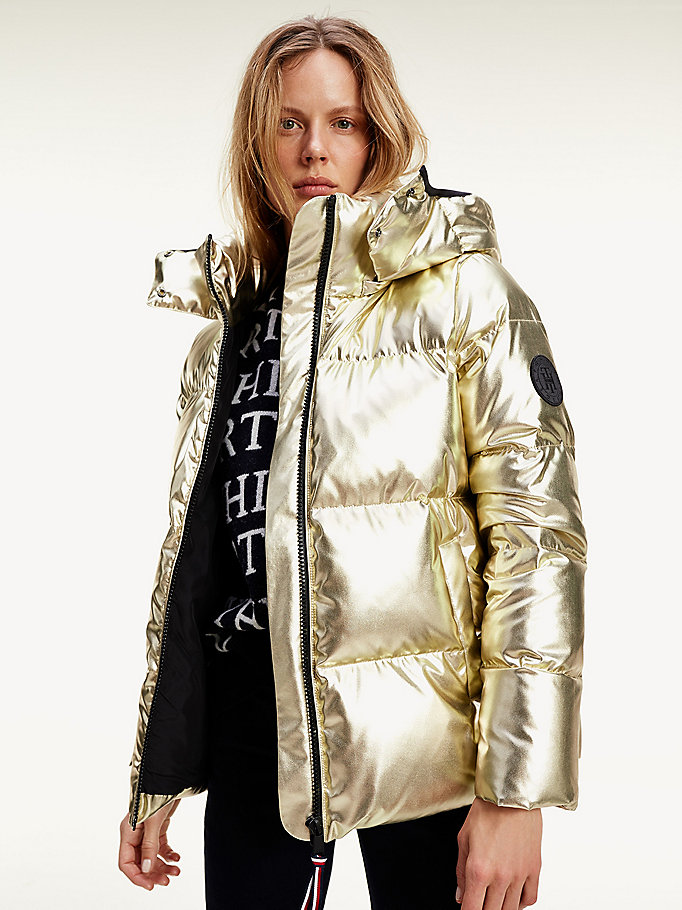 yellow metallic gold down-filled puffer jacket for women tommy hilfiger
