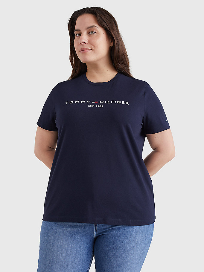 blue essential curve crew neck t-shirt for women tommy hilfiger