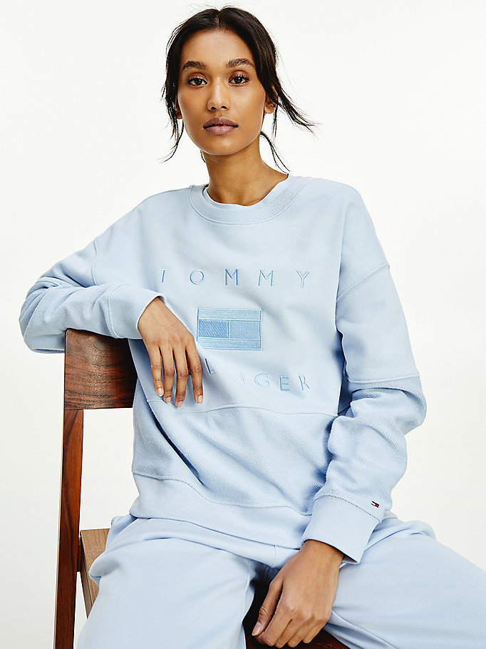 blue tonal embroidery relaxed fit sweatshirt for women tommy hilfiger