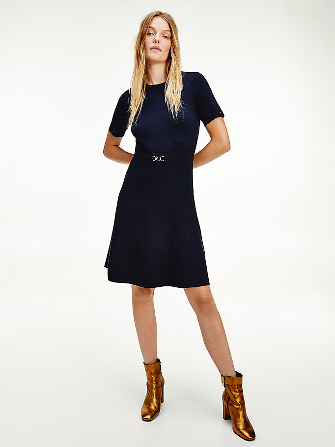 blue viscose crew neck horse bit dress for women tommy hilfiger