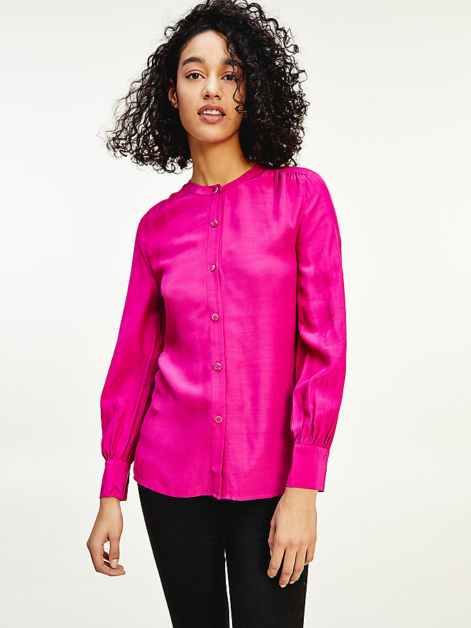 pink relaxed fit viscose blouse for women tommy hilfiger
