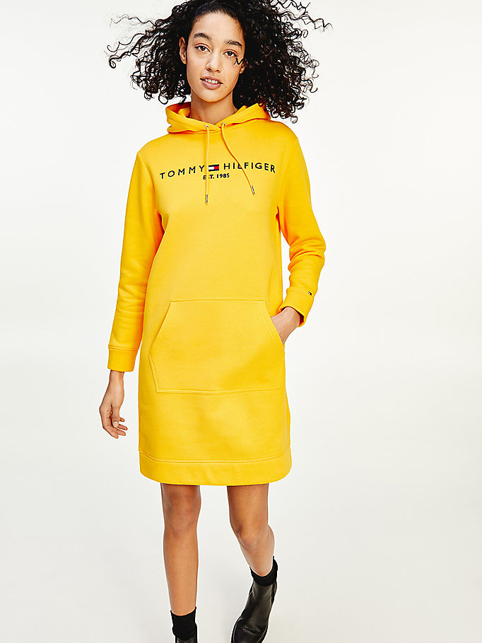yellow essential logo hoody dress for women tommy hilfiger