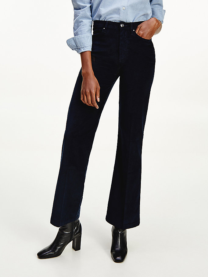 blue high rise flared corduroy trousers for women tommy hilfiger