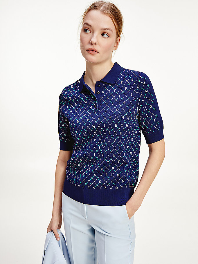 blau regular fit argyle-poloshirt für women - tommy hilfiger