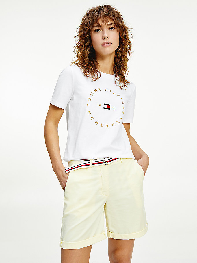 white round logo organic cotton t-shirt for women tommy hilfiger