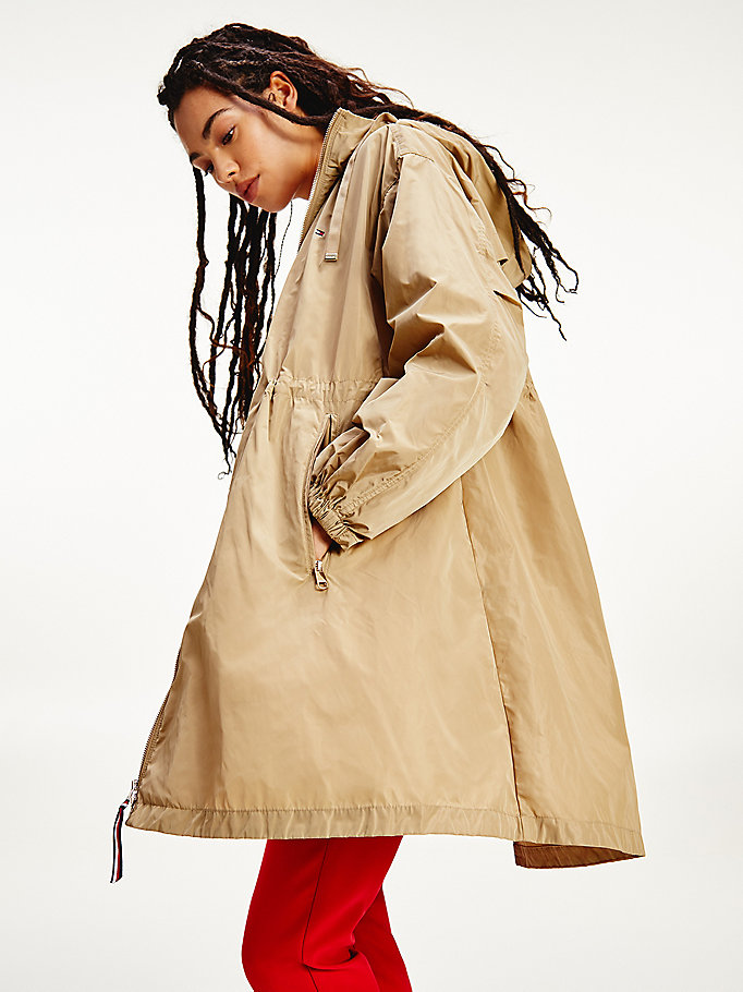 beige essential water repellent oversized parka for women tommy hilfiger