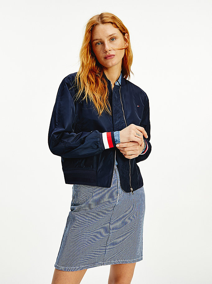 blue essential water repellent bomber jacket for women tommy hilfiger