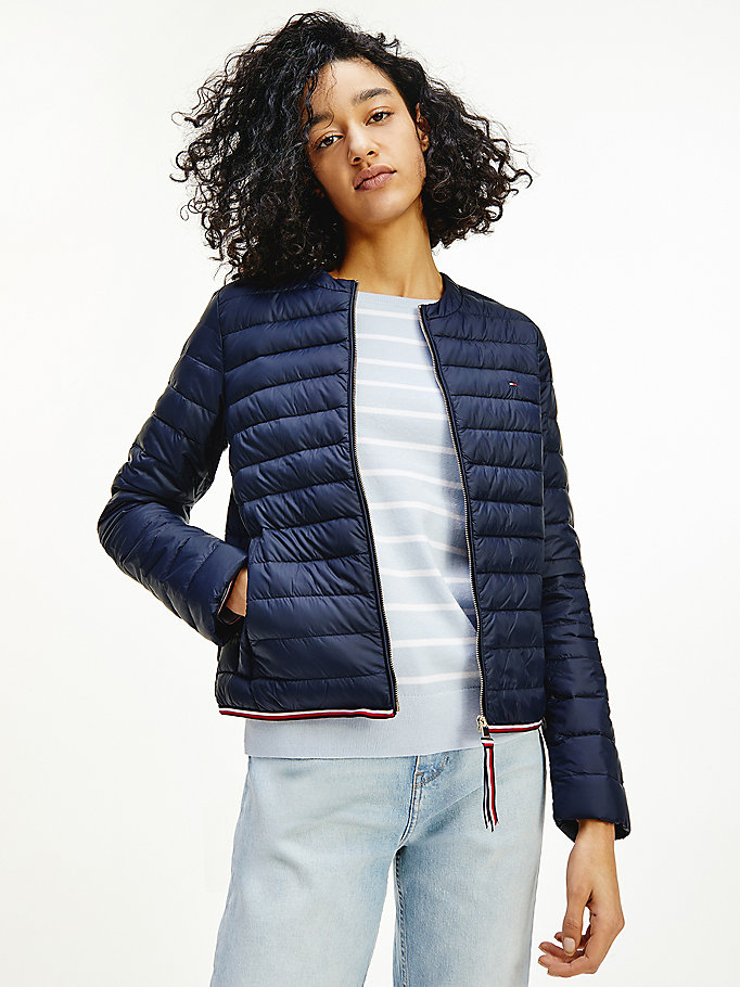 blue essential collarless down-filled jacket for women tommy hilfiger