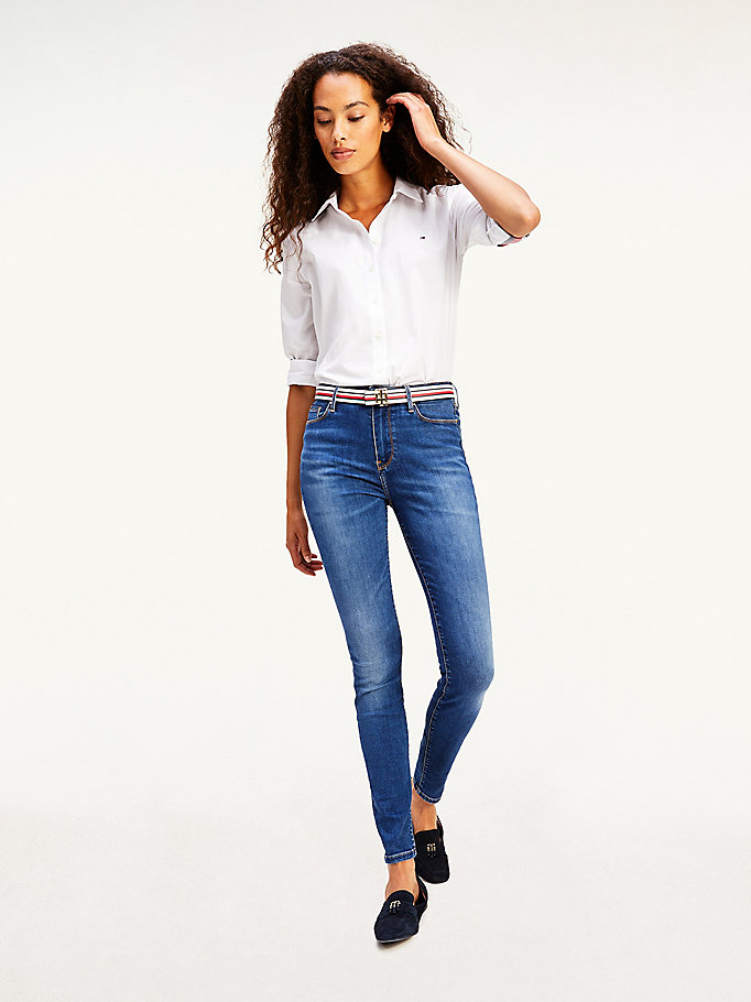 denim harlem th flex high rise ultraskinny jeans voor dames - tommy hilfiger