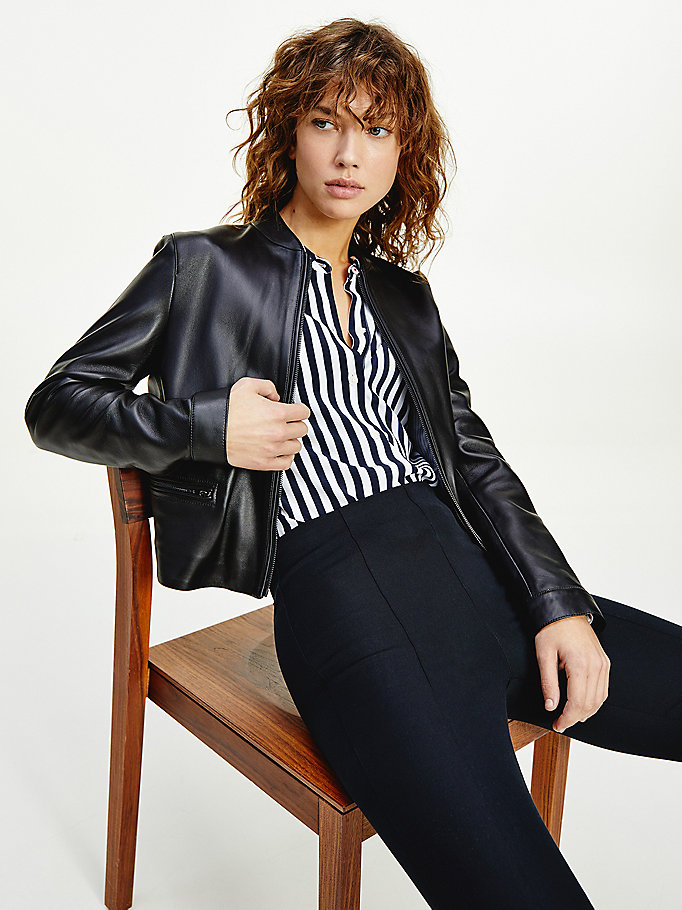 black essential slim fit leather jacket for women tommy hilfiger